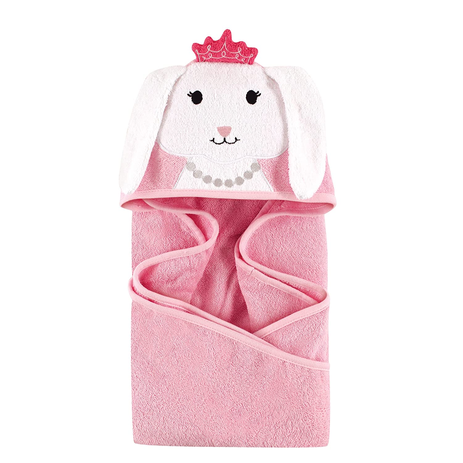 Hudson Baby Unisex Baby Cotton Animal Face Hooded Towel, Princess Bunny, One Size