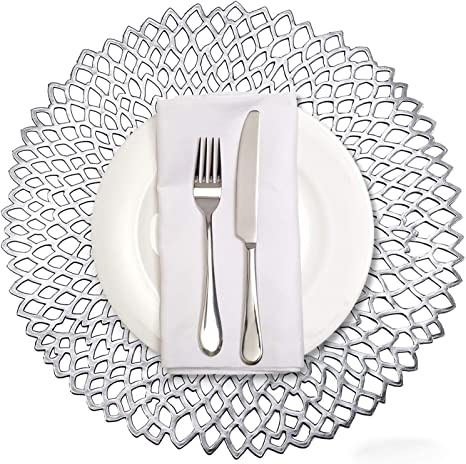 Amazon Com Mladen Hollowed Out Round Placemats Wedding Dining Table Mats Kitchen Decor Set Of 4 Silver