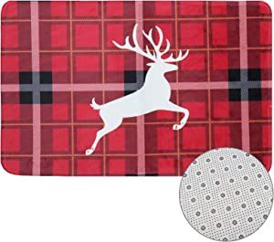 Wusteg Floor Mat Buffalo Plaid Carpet Floor Non Slip Absorbent Welcome Doormat Christmas Valentines Low-Profile Floor Mat for Indoor Outdoor Home Garden