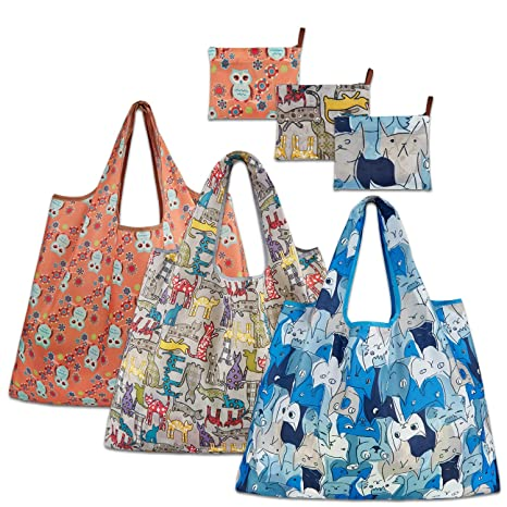 Amazon.com: Bolsas de comestibles reutilizables, paquete de ...