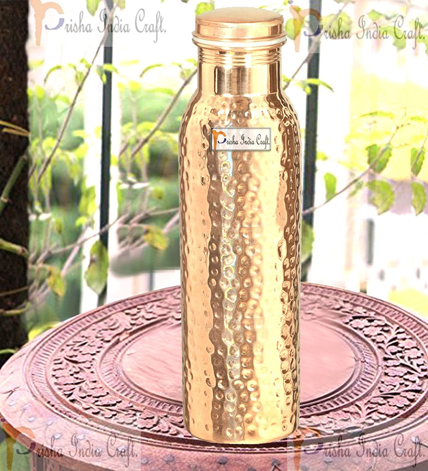 Capacity 30 Ounce Hammered Style Water Bottle Prisha India Craft Thermos Design Pure Copper Bottle