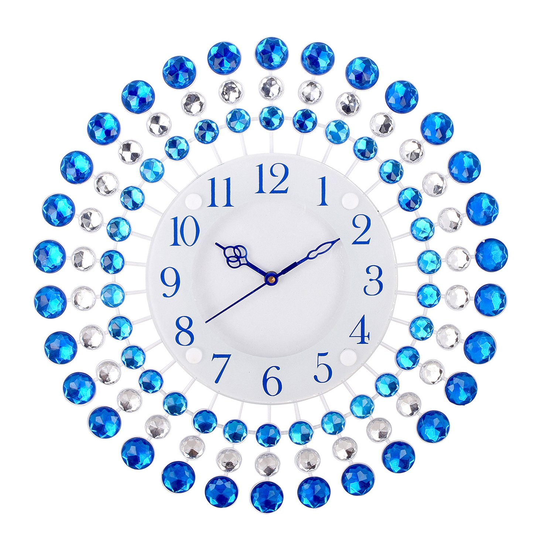 Buy ecraftindia premium diamond series analog iron and crystal buy ecraftindia premium diamond series analog iron and crystal wall clock 36 cm x 8 cm x 36 cm blue online at low prices in india amazon amipublicfo Choice Image