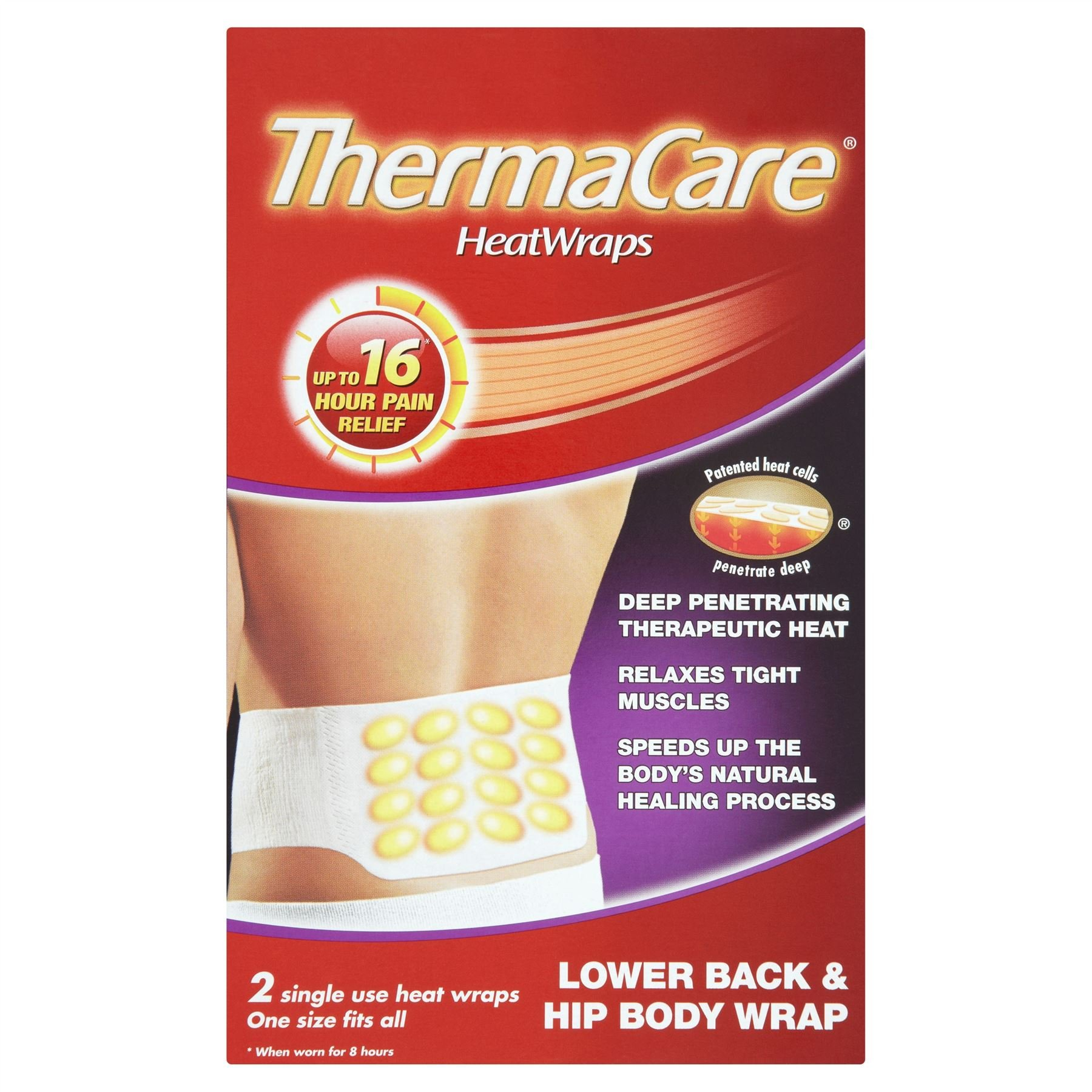 Thermacare Lower back Heat Wraps (4 x 2 Pack = 8 Wraps)