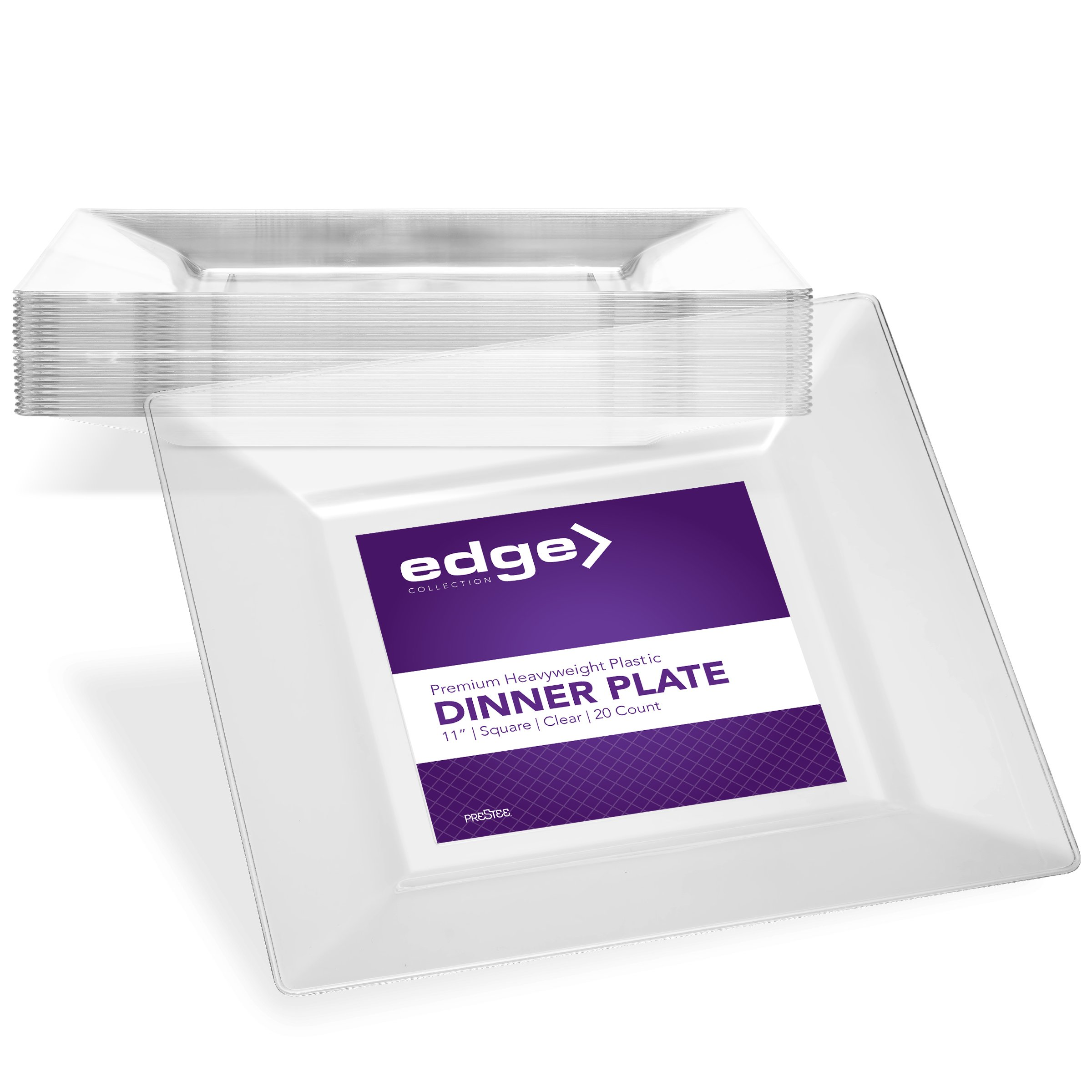 EDGE CLEAR PLASTIC PARTY DISPOSABLE PLATES | 11 Inch Hard Square Large Wedding Dinner Plates, 20 Ct | Elegant & Fancy Heavy Duty Hard Party Supplies Plates for Holidays & Occasions