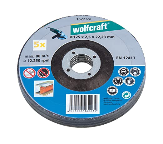 5 opinioni per Wolfcraft 1622300- 5 dischi da taglio per metalli, ø 125 x 2,5 x 22,2 mm
