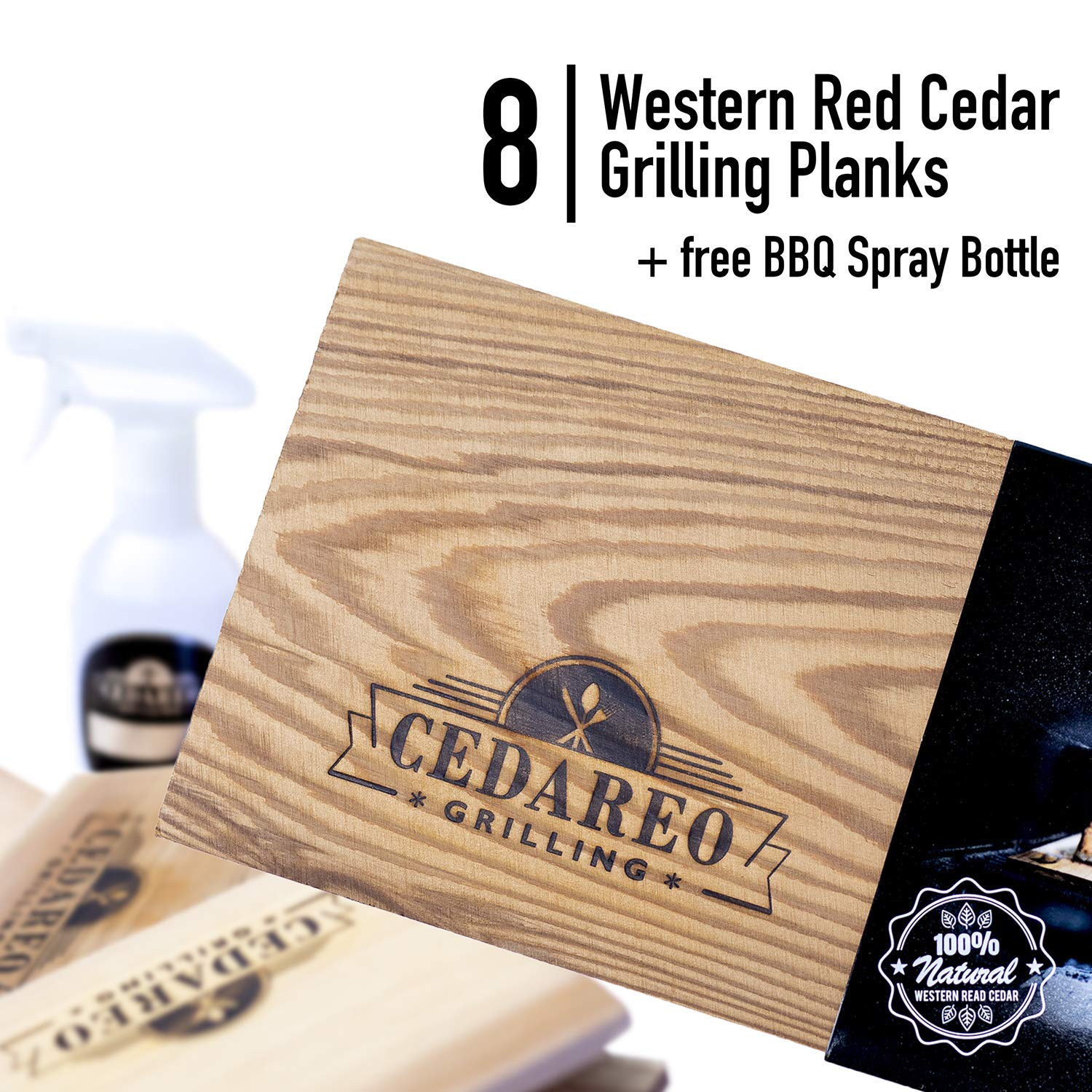 CEDAREO Cedar Grilling Planks - 8 Cedar Planks for Grilling Salmon Steaks and Vegetables - Fish and Barbecue Smoking and Grilling Accessories Size 15'' x 5 1/2'' x 3/8 - Bonus BPA Free BBQ Spray Bottle by CEDAREO