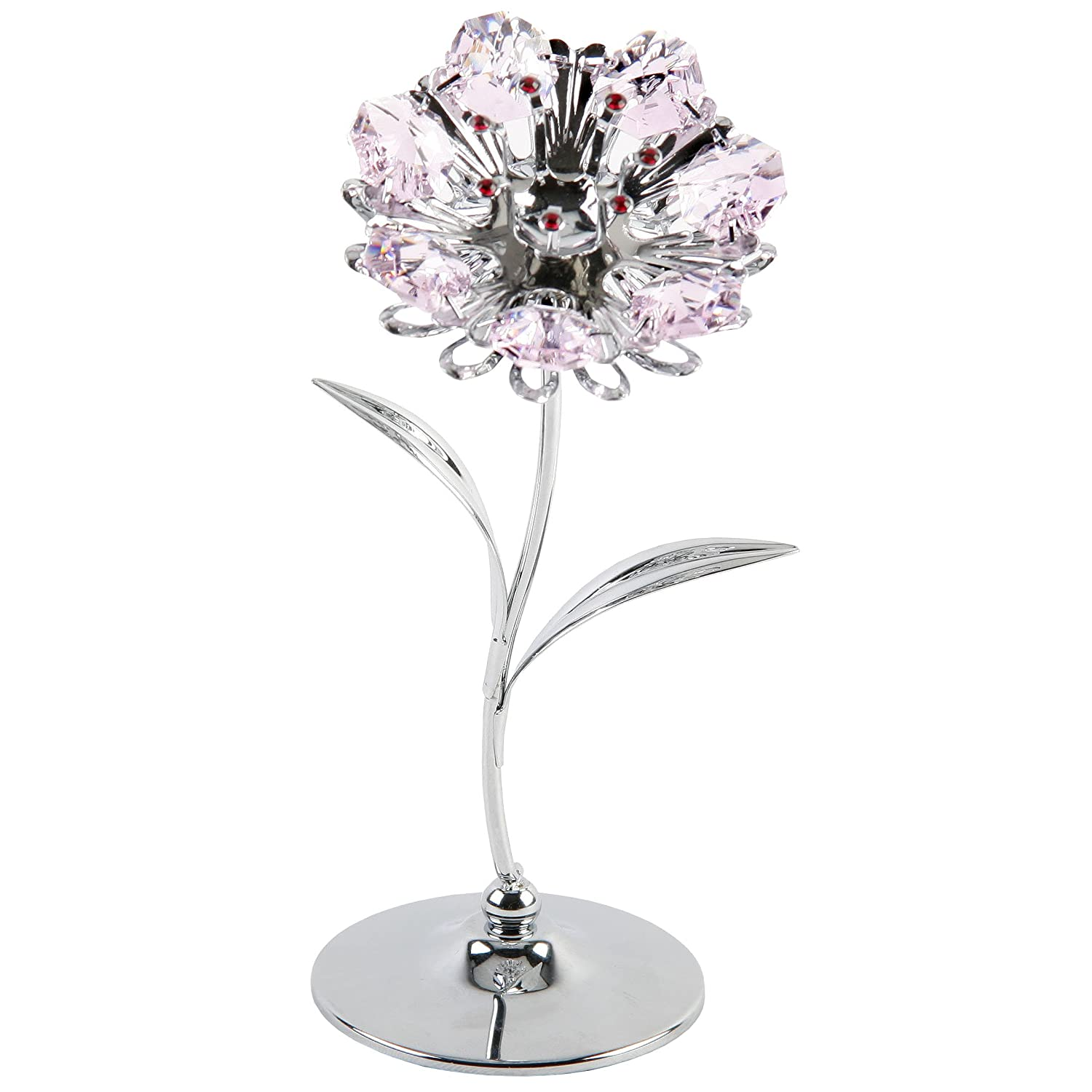 Crystocraft Keepsake Gift Ornament - Silver Sunflower with Pink Swarvoski Crystal Elements by CRYSTOCRAFT