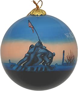 Hand Painted Glass Christmas Ornament - Washington D. C. – Marine Corps War Memorial