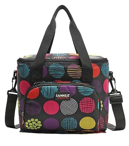 Yvonnelee 10L Nevera portátil Bolsa para el Almuerzo Lunch Bag para Guardar Comida, Multifuncional Kleine Picnic Bolsa de Playa Completo Apertura ...