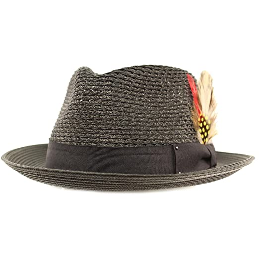 580ad2fa1f1 Men s Light Vented Removable Feather Derby Fedora Curled Brim Hat S M Black