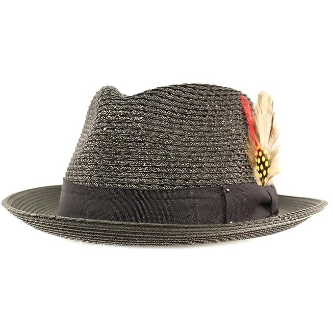 SK Hat shop Men s Light Vented Removable Feather Derby Fedora Curled Brim  Hat ... a546da6f2b5