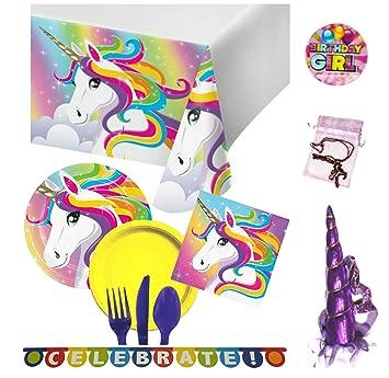 Amazon.com: Unicorn Suministros para fiestas para 16 ...