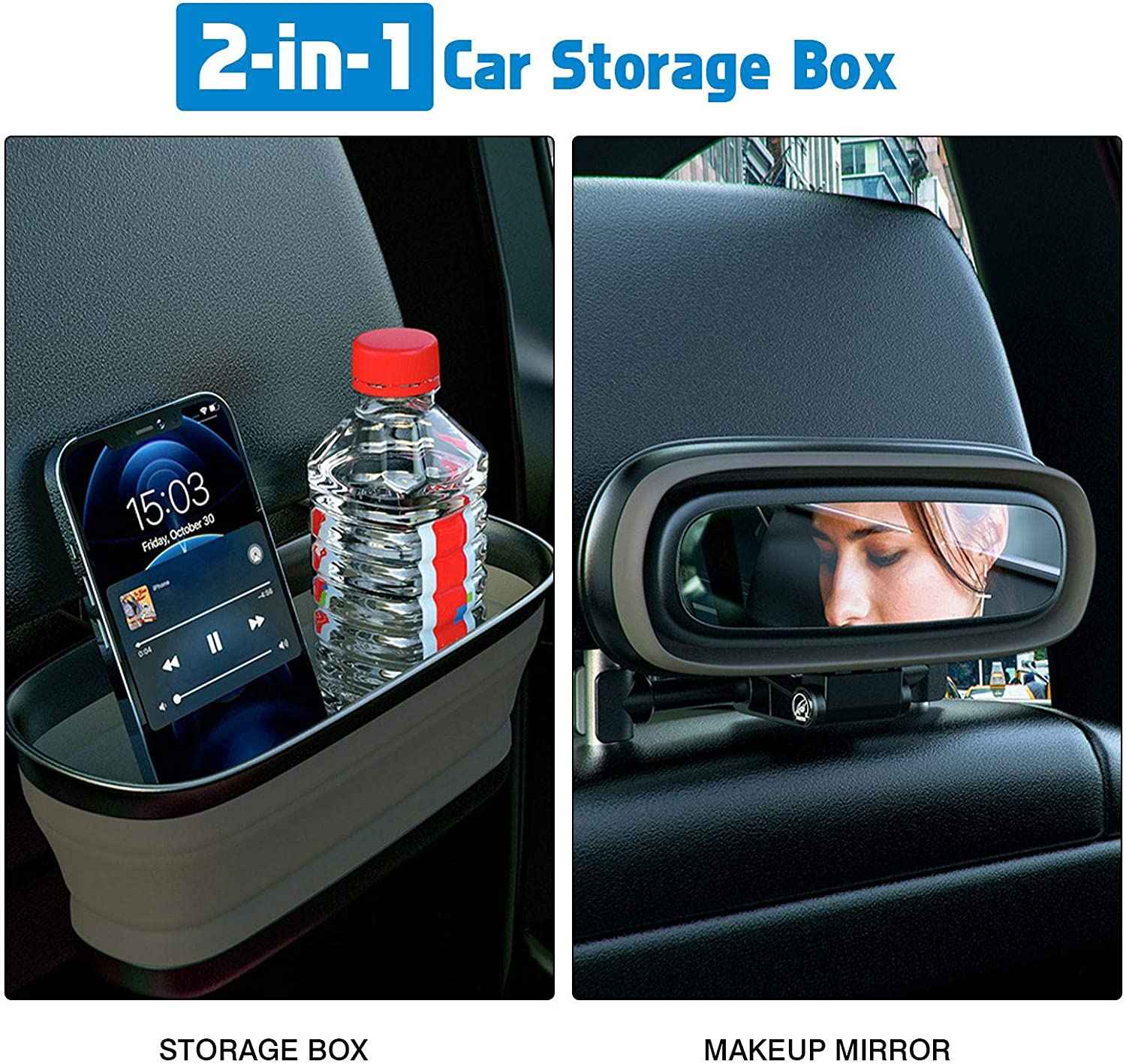 duhe189014 Foldable Car Rear Water Cup Holder With mirror,Retractable cup holder Storage Box,Elastic Kid Toys Holder,Car Storage Box for Drink,Phone,Small objects