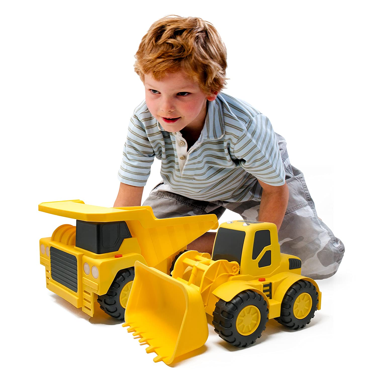 """Boley 2-Piece 18"""" Construction Vehicles - Dump Truck and Bulldozer Construction Toys - Button-Activated Light & Sound Construction Trucks, Perfect Truck toy for Toddler Boys 43223-1575"""