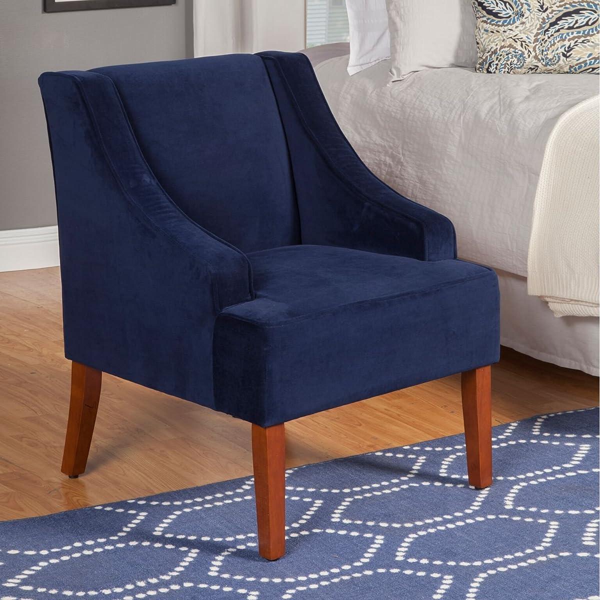 HomePop K6499-B215 Swoop Arm Accent Chair Living Room Furniture, Medium, Navy