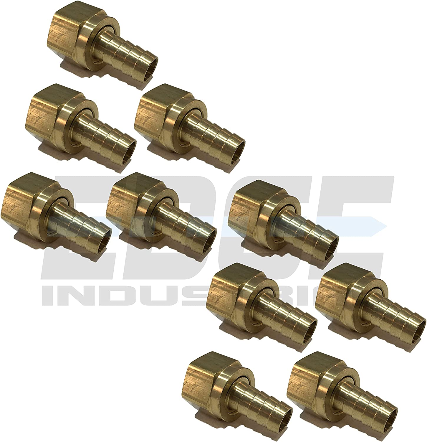 Oil EDGE INDUSTRIAL 1//2 Hose ID to 5//8 45/° SAE//37/° JIC Dual SEAT Female Flare Brass Swivel Connector Fuel Gas Water Qty 01 WOG AIR