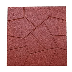 "RevTime Dual-Side Garden Rubber Paver 16""x16"" for Patio Paver, Step Stone and Walk Way, Safety Rubber Tile Red (Pack of 6)"
