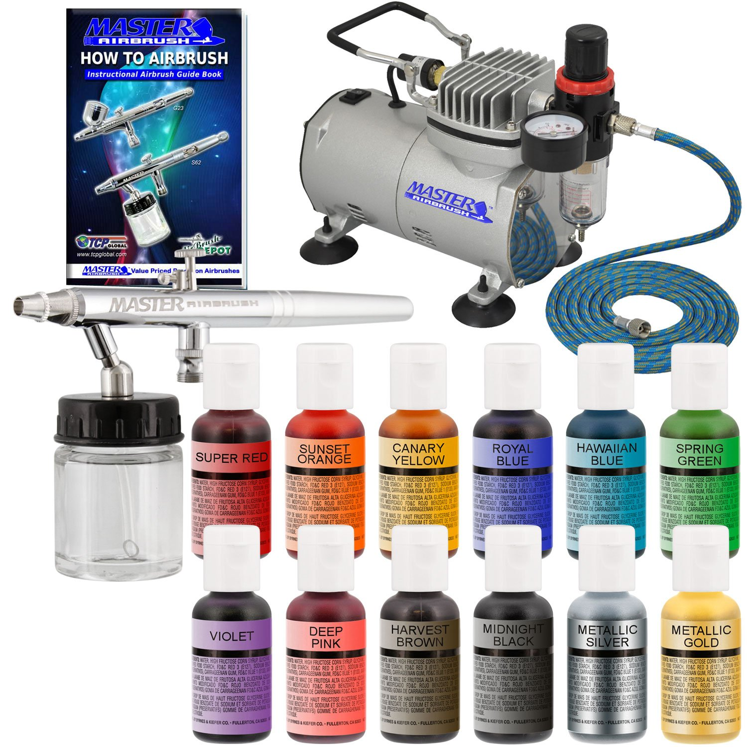 Master Airbrush Cake Decorating Airbrushing System Kit with a Set of 12 Chefmaster Food Coloring Colors, S68 Siphon Feed Dual-Action Airbrush, Air Compressor, Hose and How-To-Airbrush Guide Booklet