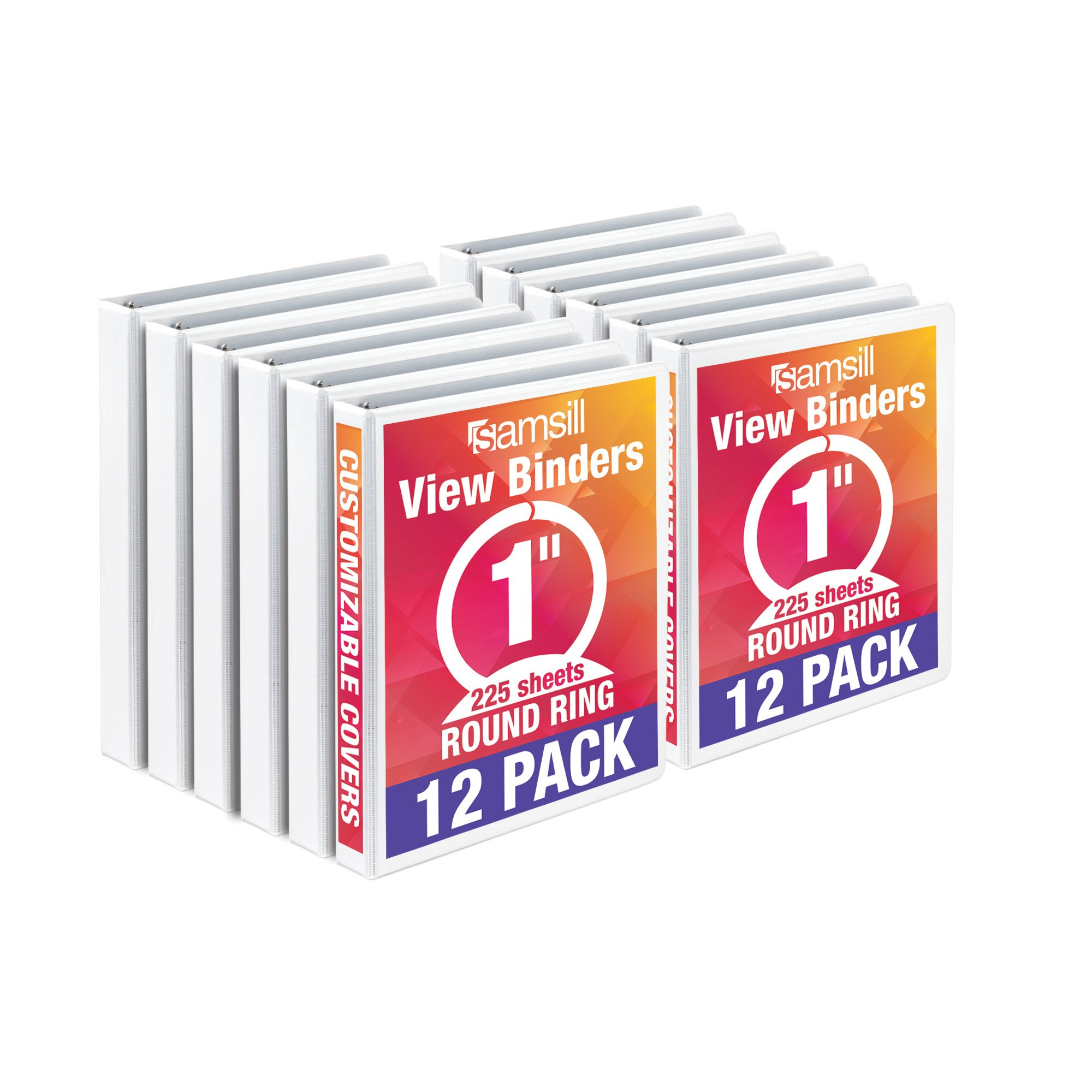 Samsill Economy 3 Ring View Binders, 1 Inch Round Ring, Customizable Clear View Cover, White, Bulk Binders - 12 Pack