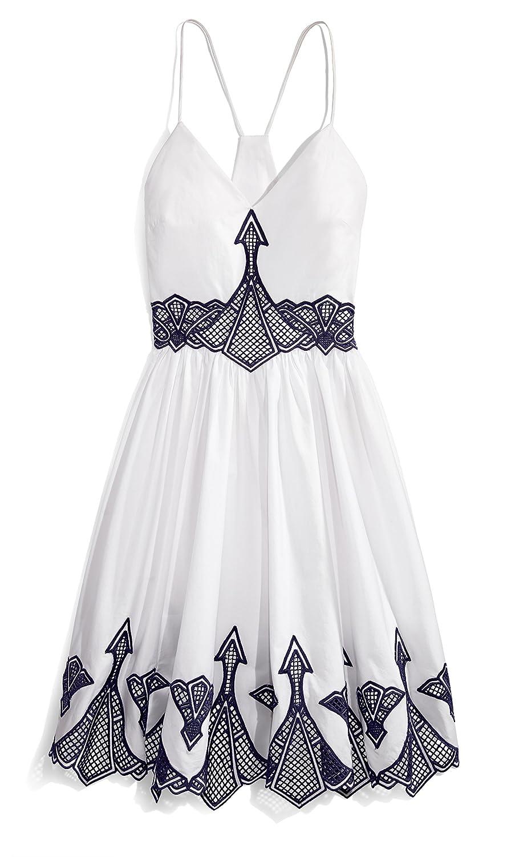 Jonathan Simkhai Women's Embroidered Poplin Dress White/Navy 2 Jonathan Simkhai Child Code N1377-I