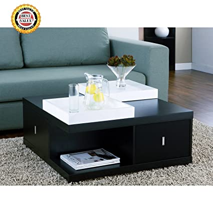 CONTEMPORARY, Modern, Black, Square Mareines Coffee Table With Storage U0026  White Serving Trays