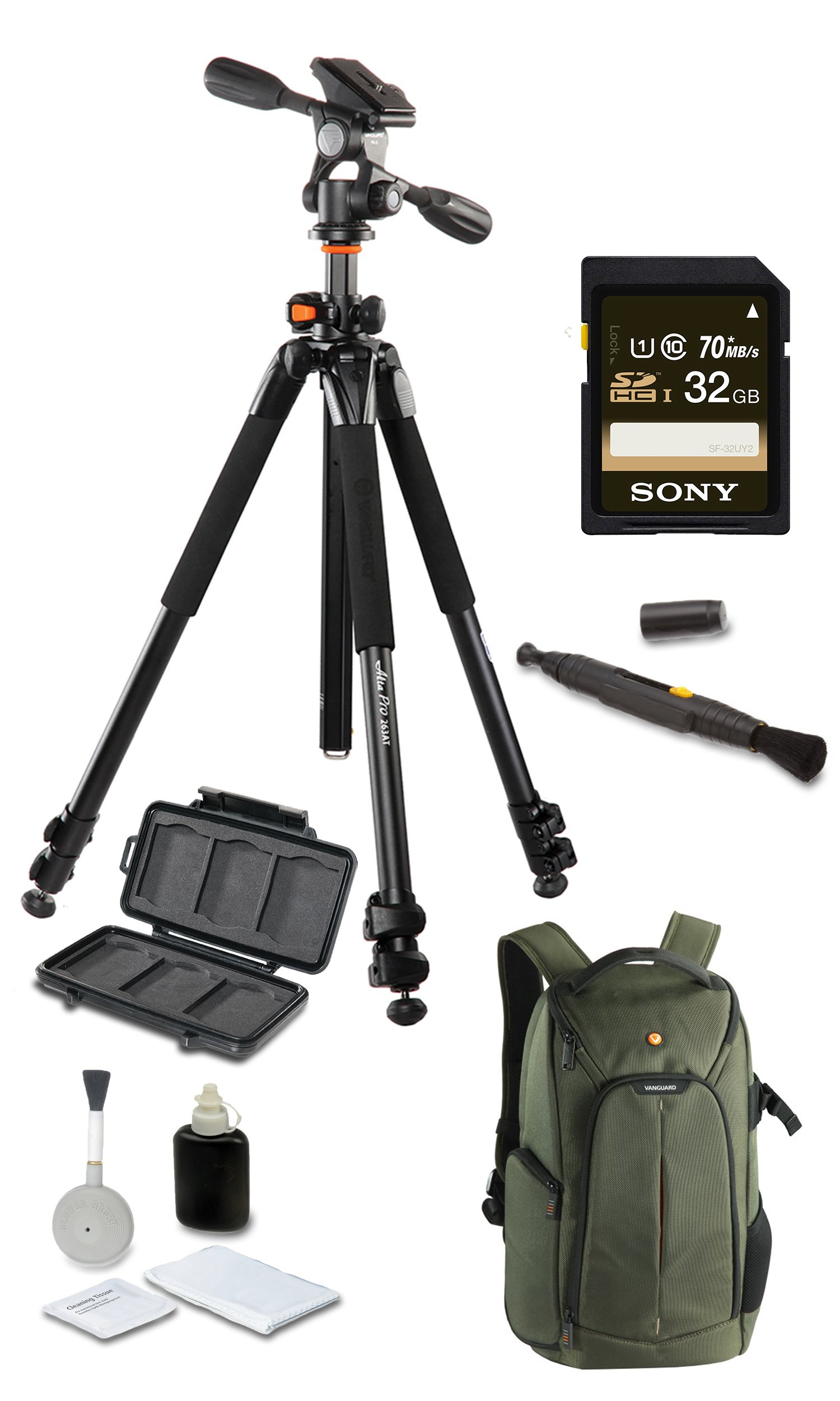 Vanguard Alta Pro 263AP Deluxe Bundle + Vanguard 2GO 46GR + SONY 32GB SD Card + Cleaning Kit 4pc + Lens Pen Cleaning Brush + Memory Card Wallet + Much More!