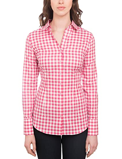 77c195301b HAWES & CURTIS Womens Casual Pink & White Medium Check Fitted Shirt Single  Cuff: Amazon.co.uk: Clothing