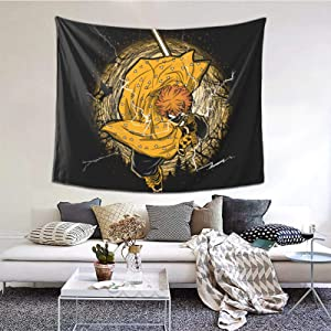 Classic Demon Slayer Thunder Breathing Zenitsu Tapestries With Art Nature Home Stylish Wall Hangings Tapestry Bedroom Party Decor (60 X 51 Inch)