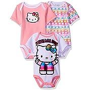 Hello Kitty Baby Girls' 3 Pack Boysuits, Multi, 18M