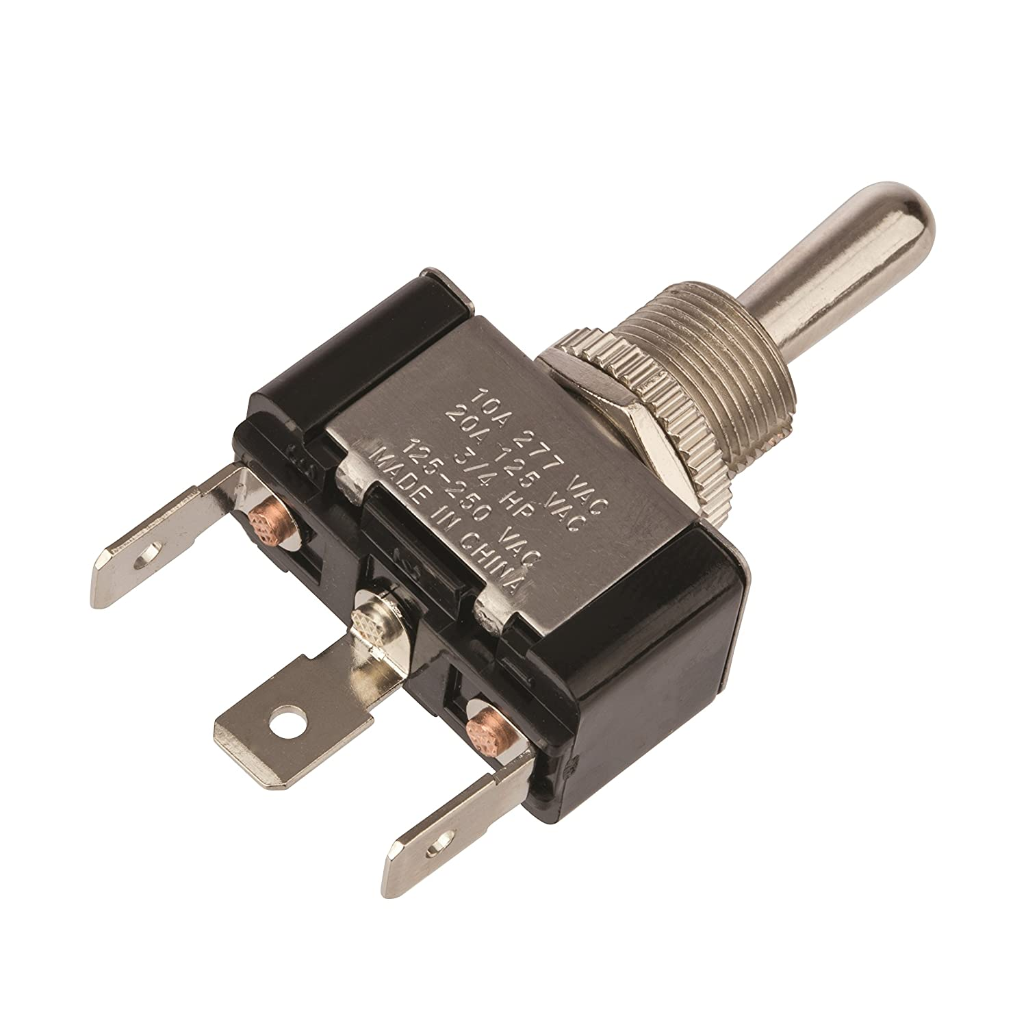 20//10 amps at 125//250 VAC On Off On Circut Function Toggle Switch Brass//Nickel Actuator Maintained Contact and Single Pole 0.250 Quikconnect Connection SPDT