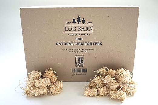 500 encendedores de leña ecológicos naturales - iniciadores de fuego por caja. Ideal para iluminar fuegos en estufas, barbacoas, hornos de pizza, fogatas y ahumadores: Amazon.es: Jardín