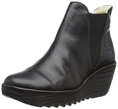 FLY London Womens Yoss Leather Winter Platform Ankle Boots Wedge Heels - Black - 5