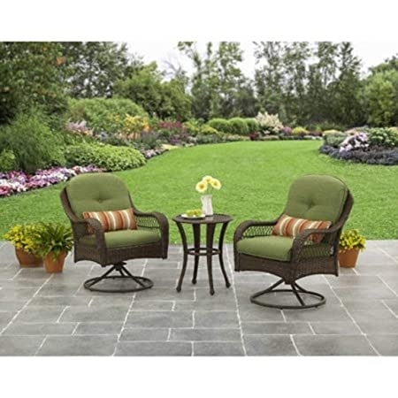 Better Homes and Gardens Azalea Ridge 3 Piece Outdoor Bistro Set, Seats 2 – Green