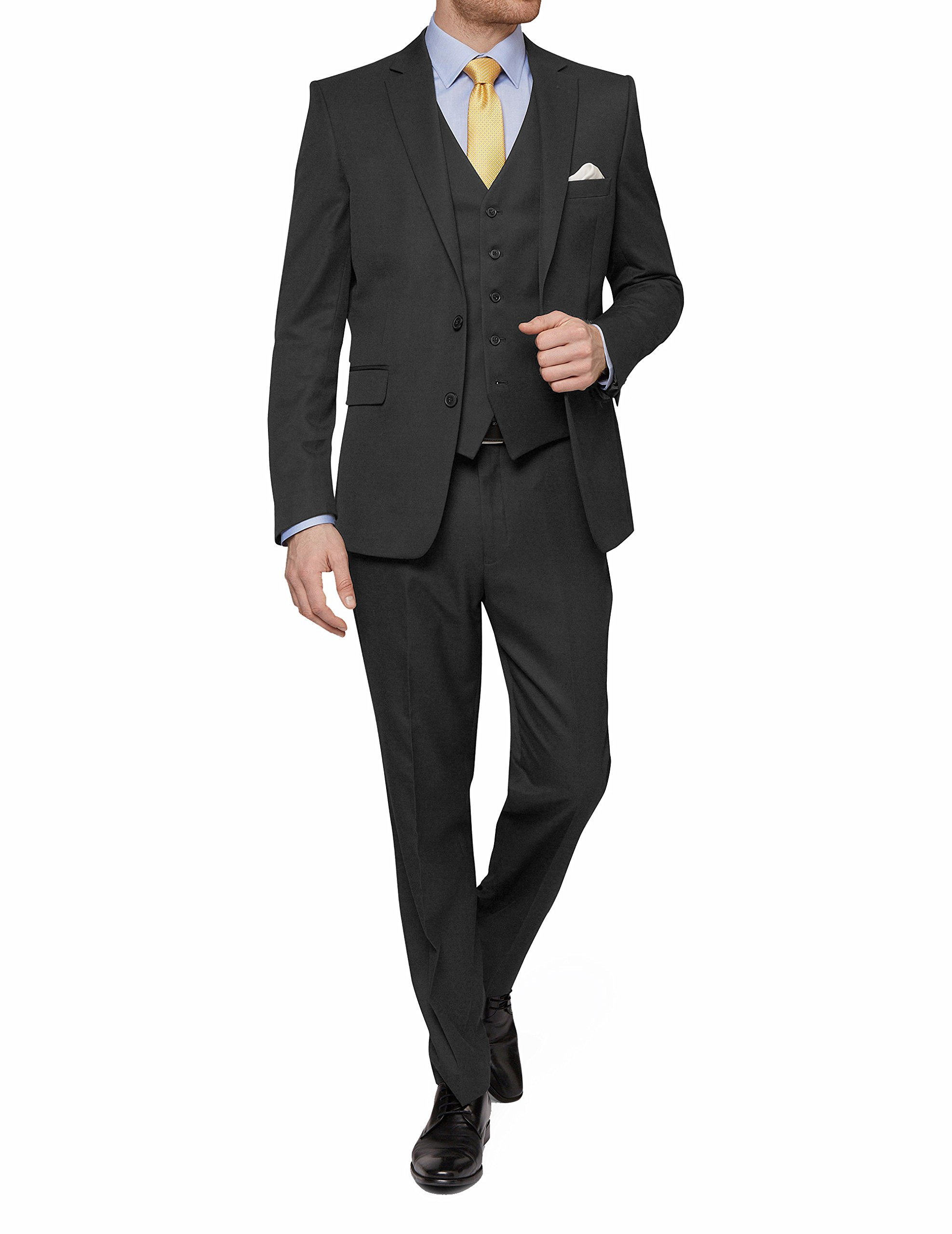 MDRN Uomo Mens Slim Fit 3 Piece Suit, Charcoal, Size 36Sx30W