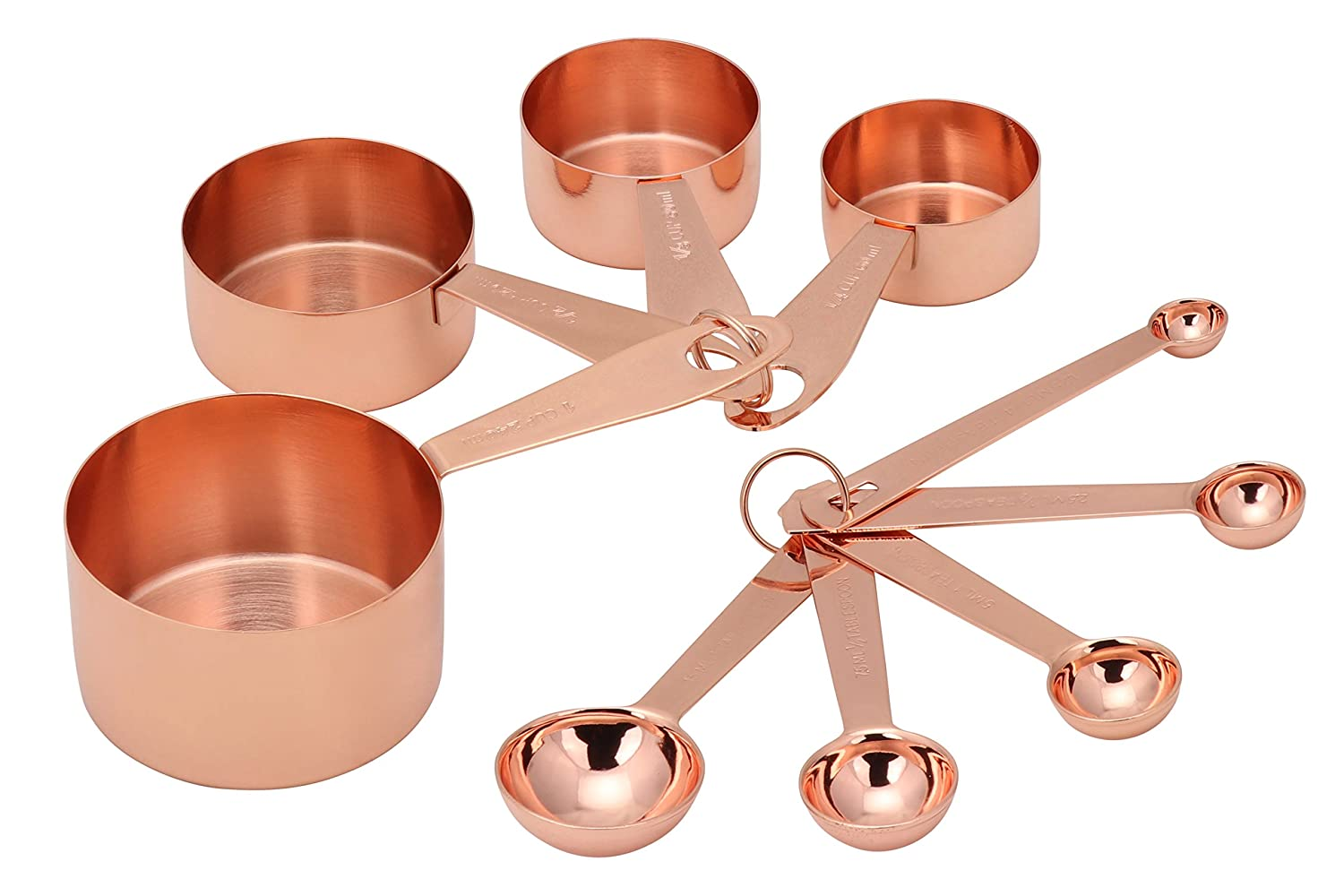 Copper Measuring Cups & Spoons 9pc set by Steelware Central | Stainless Steel Copper Plated | Rose Gold | Engraved Markings| Stack-able nesting baking/cooking kitchen tool |Perfect Gift