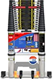 EuroLadderSystems Euro Ladder Systems Pro Telescopic Ladder 6.2 Meter (20.6 ft) - Stores at 3.8 ft - Zero Flex Technology (Rock Solid)- Red Que Safe Step - Stabilizer,Anti Skid feet & Wheel Kit