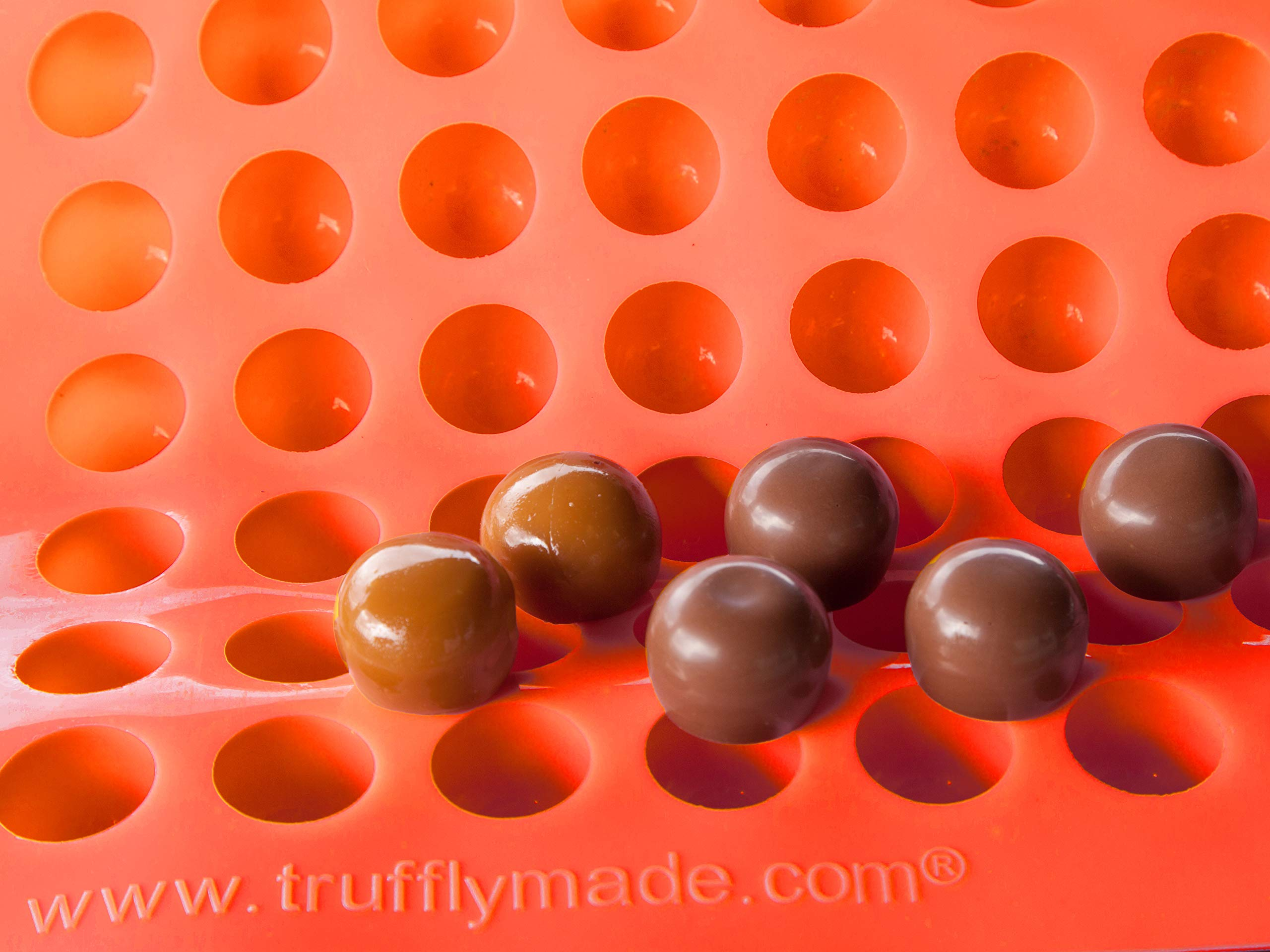 Silicone Chocolate Medium Classic Round Chocolate Truffle, Jelly and Candy Mold, 63 cavities, One step pop-out by Truffly Made (Image #5)