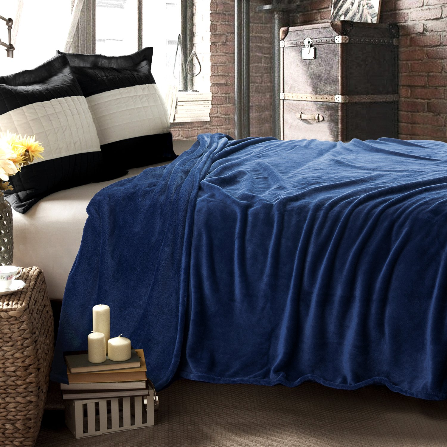 "Couch Blanket, Twin Full/Queen King(90""x90"" Blue Navy"