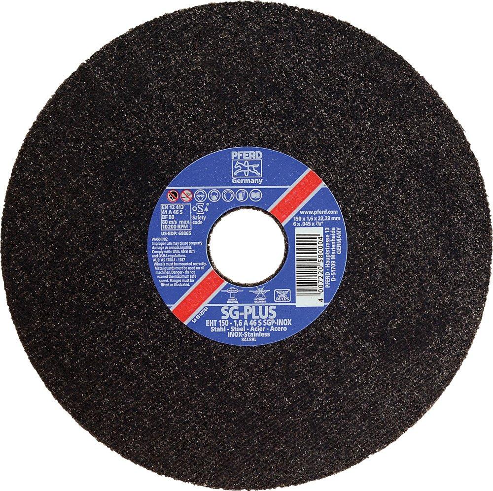 PFERD 69865 Flat Cut-Off Wheel, Type 1, Aluminum Oxide A, 6'' Diameter x .045'' Thickness, 7/8'' Bore, 10200 Max RPM (Pack of 25)