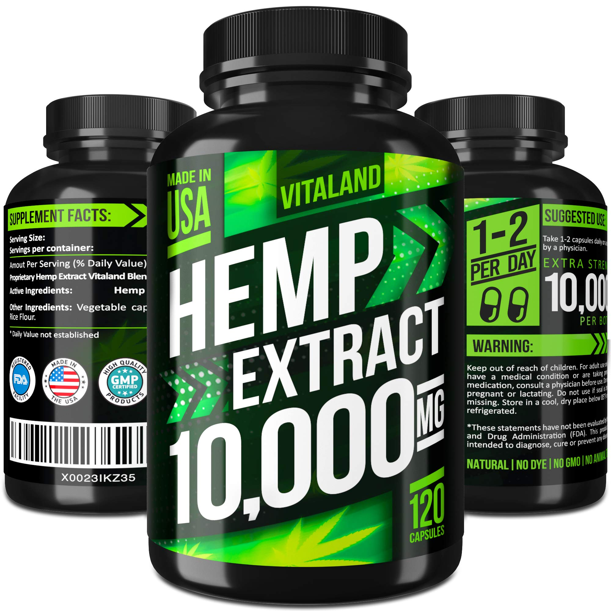 Hemp Oil Capsules 10000MG - 83.3 MG per Capsule - Made in USA - Efficient Pain, Stress & Anxiety Relief - 100% Premium Hemp Oil - Anti Inflammatory - Sleep & Mood Support - Ideal Omega 3, 6, 9 Source by VitaLand