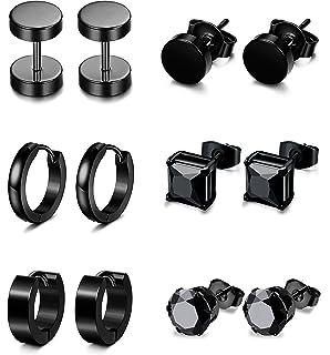 MOWOM 3~9 Pairs Stainless Steel Hoop Huggie Stud Earrings Tapers Plugs Tunnel ca5060279