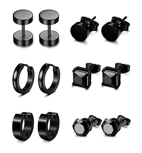 c4520db04 Jstyle 6 Pairs Stainless Steel CZ Stud Earrings for Women Mens Huggie Hoop  Earrings Ear Piercing