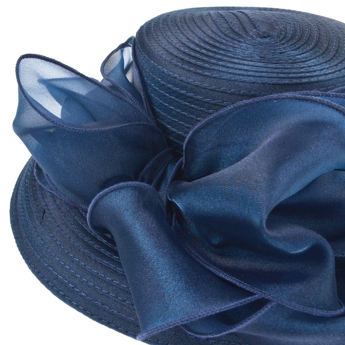 Women Kentucky Derby Church Dress Cloche Hat Fascinator Floral Tea Party Wedding Bucket Hat S052 (S062-Navy) by Ruphedy (Image #4)