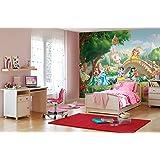 Komar Papel de pared princesas de Disney, palacio y mascotas, papel pintado de vinilo, multicolor, 8piezas