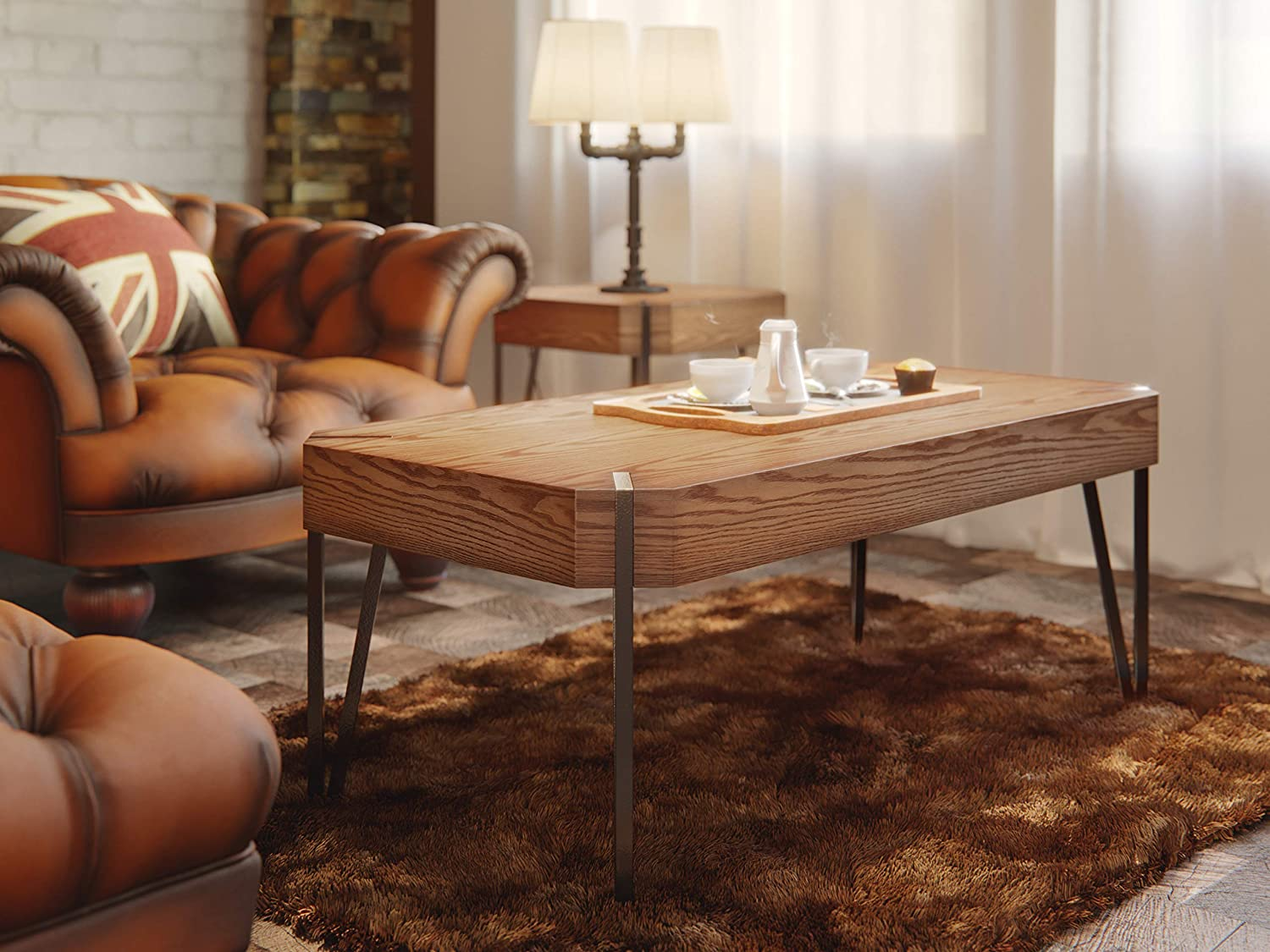 HILLENBRAND CO Rustic Coffee Table Oak Wood Veneer Finish. Sturdy Industrial Design Metal Legs. Wooden Coffee Tables for Living Room, TV, Sofa, Home Office. Modern Farmhouse Coffee Table. 46 x 23