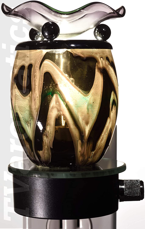 TVaromatics Black Glass Plug-in Aroma Lamp Oil Warmer