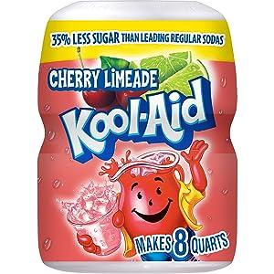 Kool-Aid Sweetened Cherry Limeade Powdered Drink Mix, Caffeine Free, 19 oz Jar