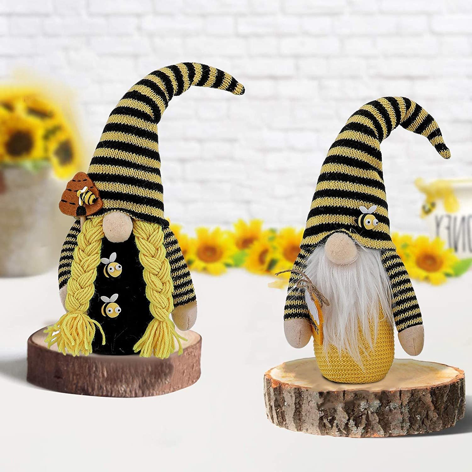 Malbaba Set of 2 Bee Gnome Farmhouse Decor Spring Gnome Modern Country Accents Summer Gnome Rustic Home Decor Bumble Bee Gnome Honey Bee Gnomes