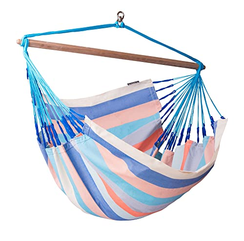 LA SIESTA Domingo Dolphin - Weather-Resistant Lounger Swing Hammock Chair with FSC Certified Spruce Stand
