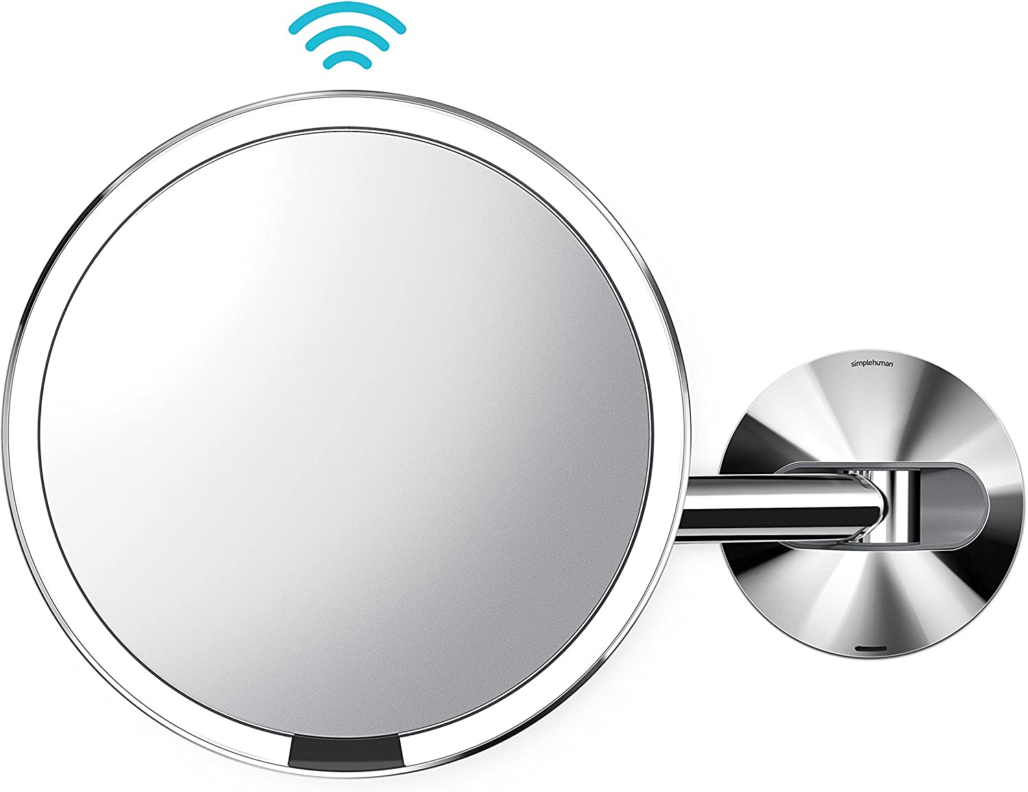 simplehuman Wall Mount-5x Magnification Sensor Makeup Mirror, Polished Stainless Steel